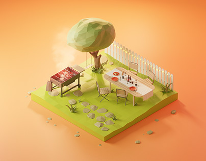 Barbecue - Low Poly