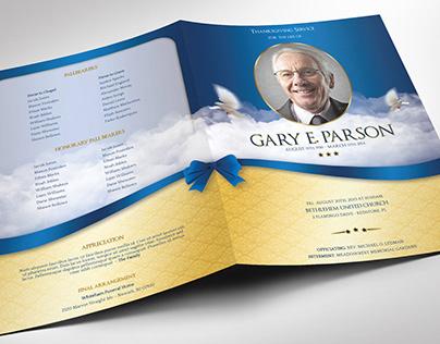 Blue Ribbon Funeral Program Large Word Publisher Templa