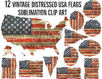 Vintage Distressed USA flags PNG Sublimation Clipart