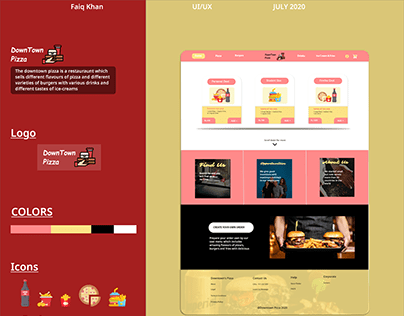 Web Design for Downtown Pizza.