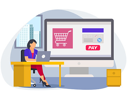 Woman doing payment for online shopping from office