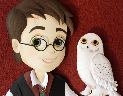 Harry Potter and Hedwig paper sculpture