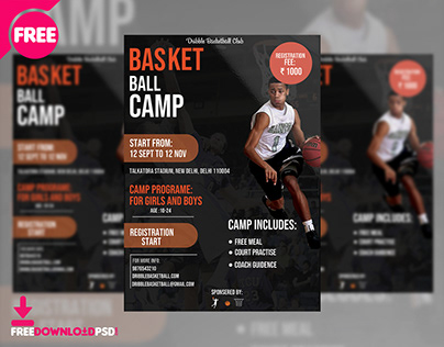 Basketball Sports Camp Flyer Free PSD