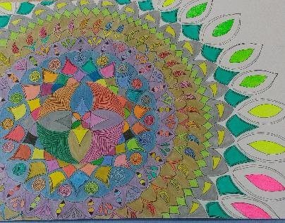mándala con colores psicoldelicas