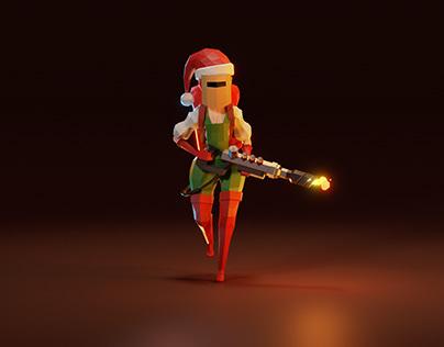 Lowpoly flamethrower girl