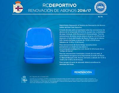 RC DEPORTIVO. Campaña Abonos 2016/17