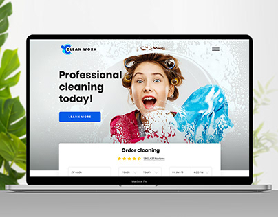 Landing page for cleaning company.