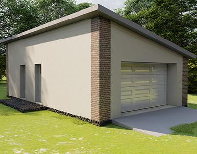House in the village. Garage