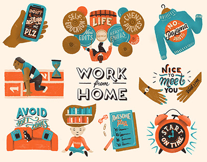 Editorial Illustrations and lettering - Work from home