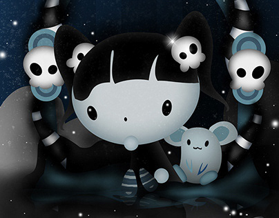 Cute Hallow Child and Mice Digital Painting