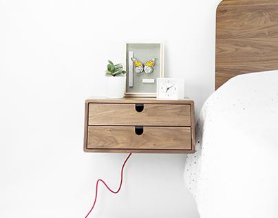 Walnut 2 drawer Tantik floating nightstand