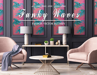 Funky Waves   Fashion Vector Pattern