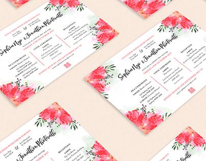 Sophia & Jonathon Wedding Invitation/Gift Note