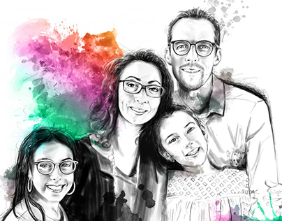Family portrait illustration
