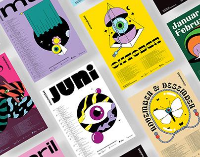 Cinema in Trondheim - Monthly programme design set