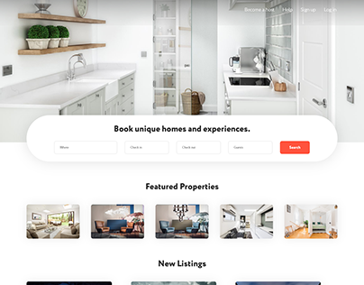 Airbnb home page ui design website design