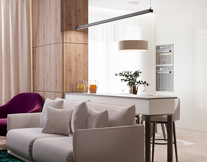 Two-rooms apartment in pastel colors for a couple
