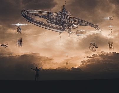 Space Invasion Manipulation Photoshop