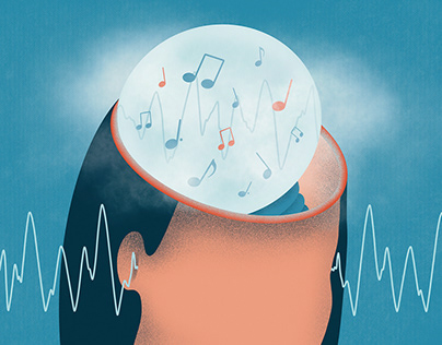 Editorial illustration – Brain predicting sounds