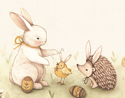 """We All Are Bunnies"" Illustrated Easter Greeting Card"