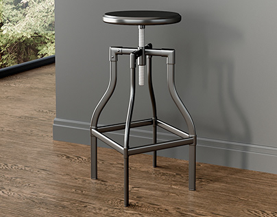 Realistic 3D model of Backless Bar Stool
