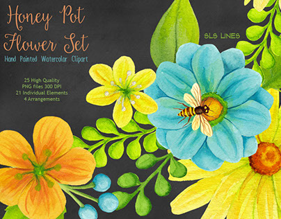 Honey Pot Flower Graphics Set