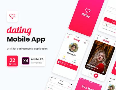 Dating Mobile App UI Adobe XD Template