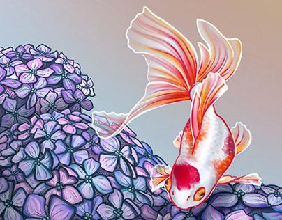 Fish & Flowers - Illustration
