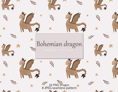 Bohemian dragon seamless pattern