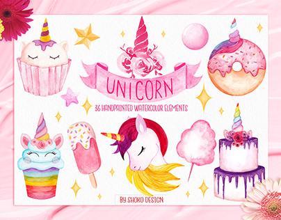 Unicorn Watercolor Set , Hand painted Illustrations
