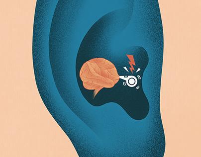 Editorial illustration – tinnitus research