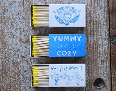 Letterpress Match-box for cafe amijok