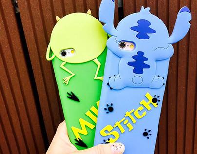Coque silicone souple Stitch/ Mr.Q mignon 3D stéréoscop
