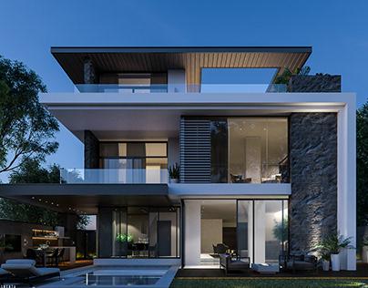 Modern Private Villa/ Exterior and interior