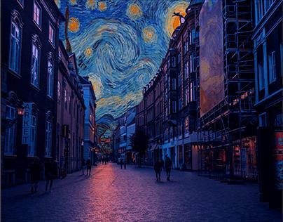 starry night In Paris streets van gogh
