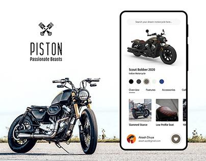 Piston - The Motorcycle App | Minimalistic UI/UX