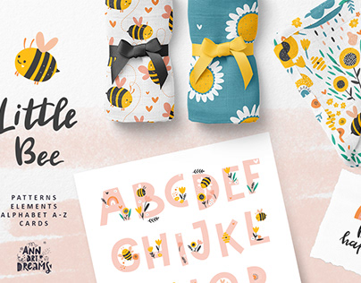 Little Bee - Kids collection. Pattern Design