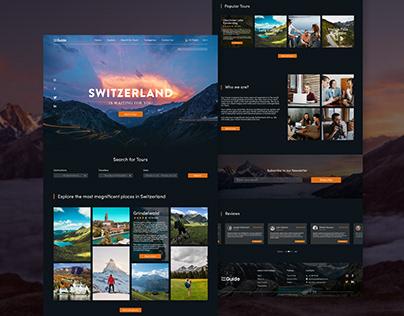 Landing page web design for Switzerland travel agency