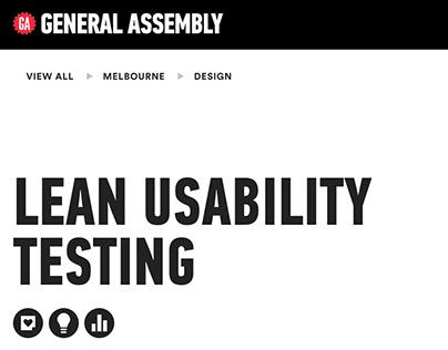 Lean Usability Testing Workshop