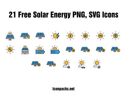 21 Free Solar energy SVG, PNG icons