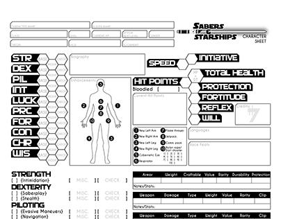 Sabers & Starships Character Sheet