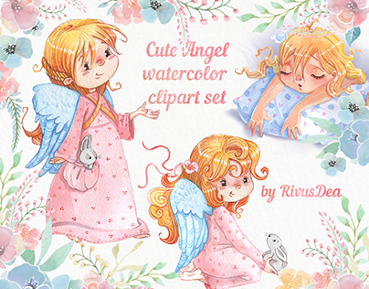 Angel girl clipart pack