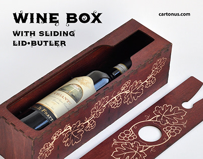 Wine box with sliding lid-butler