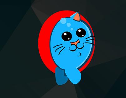 Cat going through a portal
