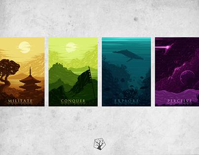 Militate. Conquer. Explore. Perceive. 4 artwork series