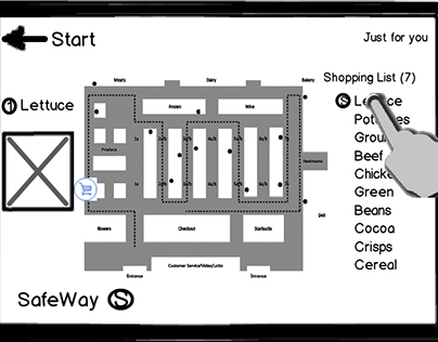 Safeway wireframes for the mobile app