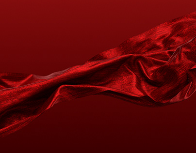 4K Red Satin Fabric Cloth Waving in the Wind