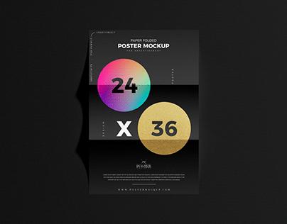 Paper Folded 24x36 Poster Mockup Free