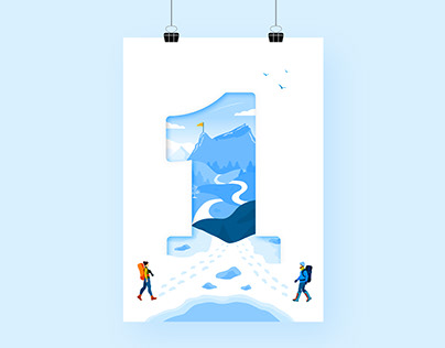 Mountains Illustration . We celebrate our first year.