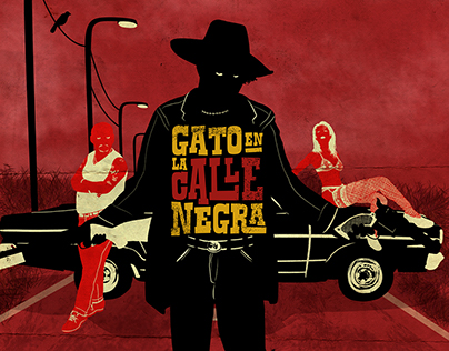 GATO EN LA CALLE NEGRA - Poster